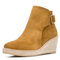 Women Solid Buckle Strap Wedges Ankle Boots - Yellow