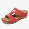 LOSTISY Flower Embroidered Vintage Casual Wedges Sandals - Red