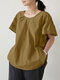 Women Solid O-neck Ruffle Sleeves Patchwork Casual Blouse - Yellow