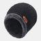 メンズウールPlusベルベット厚手の冬は暖かく防風ニット帽を保つ - ブラック