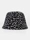 Women Cotton Leopard Pattern Print Patchwork Fashion All-match Sunscreen Bucket Hat - Black 1