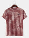 Mens Cool Gradient Color Character O-neck T-shirts - Red