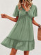 Holiday Solid Color V-neck Fungus Patchwork Short Sleeve Casual Dress - Light Green