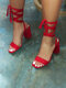 Women Fashion Solid Color Lace Up Chunky Heels Sandals - Red