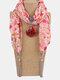 Vintage Chiffon Tassel Women Scarf Necklace Geometric Pendant Flower Leaf Pattern Shawl Necklace - #04