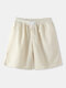 Mens Solid Color Corduroy Basics Texture Shorts With Pocket - White