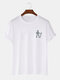 Mens Line Figure Pattern 100% Cotton Casual Short Sleeve T-Shirts - White