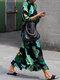 Tropical Print Mock Neck Long Sleeve Plus Size Print Dress  - Green