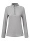 Solid Color Zip Front High Neck Casual Blouse For Women - Gray