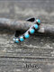 Vintage Ethnic Three-color Turquoise Small Round Beads Alloy Rings - Blue