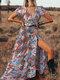 Bohemia Print Button Elatic Sleeve Plus Size Long Dress for Women - Orange