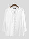 Mens 100% Cotton Pure Color Loose Lace Up Long Sleeve T-Shirts - White