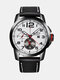Alloy Mens Watches Leather Band Date Business Quartz Wrist Watch - black band white face