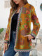 Ethnic Style Floral Print Plus Size Jackets - Yellow