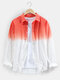 Mens Two Tone Ombre Basic Lapel Long Sleeve Casual Shirt - Red