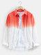 Mens bicolore Ombre basic bavero manica lunga casual Camicia - Rosso