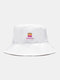 Unisex Canvas Solid Color-Block Letter Pattern Print All-match Sunscreen Bucket Hat - White