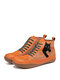 LOSTISY Black Cat Print Casual Lace Up Splicing Suede Flat Ankle Boots For Women - Orange