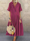 Solid Color Stringy Selvedge Short Sleeve Lapel Maxi Dress For Women - Red