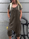 Casual Drop Crotch Solid Color Short Sleeve Plus Size Jumpsuit - Army Green