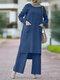 Solid Color O-neck Long Sleeve Plus Size Button Blouse Suit for Women - Blue