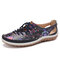 SOCOFY Printing Pattern Splicing Stitching Lace Up Soft Flat Shoes - Dark Blue
