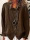 Button Revers Vollfarbiges Langarm-Freizeithemd für Damen - Kaffee