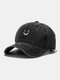 Unisex Cotton Made-old Smiling Face Young Outdoor Sunshade Baseball Hat - Black