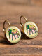 Vintage Round Glass Pendant Earrings Animal Pattern Cats Dogs Women Earrings - #05