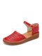 Women Solid Color Hollow Out Casual Large Size Comfortable Sandals - Red