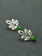Vintage 925 Plated Silver Hollow Leaf Earrings natural Round Jasper Ear Stud - Silver