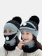 Women 3PCS USB Charging Heating Warm Outdoor Winter Neck And Face Protection Knitted Hat Scarf Mask - Black