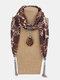 Vintage Chiffon Tassel Women Scarf Necklace Geometric Pendant Flower Leaf Pattern Shawl Necklace - #15