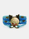 Vintage Red Floral Dog's Tail Grass Pattern Print Butterfly Braided Gemstone Multi-layer Bracelet - Blue