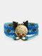 ヴィンテージレッドフローラルドッグテールグラスパターンプリントバタフライブレイドジェムストーンマルチレイヤーブレスレット - 青