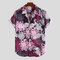 Mens chinois Koi imprimé floral col bas manches courtes Casual Loose Shirts