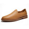 Menico Mens Genuine Cow Leather Slippers Soft Driving Loafers - Yellow