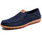 Men Canvas Collapsible Heel Non Slip Large Size Slip On Casual Shoes - Blue