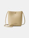 Women PU Large Capacity Bucket Bag Crossbody Bag - Khaki