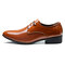 Large Size Men Pure Color Leather Business Formal Dress Shoes - Yellow