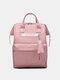 Casual Oxford Splashproof Large Capacity 14 Inch Handbag Backpack - Light Pink