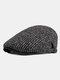 Men Peaked Cap Autumn Winter British Retro Beret Casual Forward Cap Flat Cap - Black