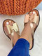 Plus Size Color Splicing Bow Round Toe Flat Slippers For Women - Gold