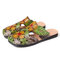 SOCOFY Retro Leather Bohemia Splicing Floral Leaves Soft Square Toe Slippers - Green