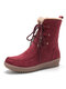 Women Winter Suede Plush Lined Stitching Side Zipper Lace Up Flat Short Boots - Wine Red