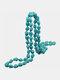 Vintage Irregular Turquoise Beaded Necklace - Green