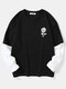 Mens Rose Print Crew Neck Contrast Faux Twinset Doctor Sleeve Casual T-Shirts - Black