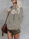 Sunflower Printed Long Sleeve O-neck T-shirt For Women - Grey