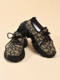 Women Fashion Print Breathable Knitted Fabric Chunky Sneakers Casual Comfy Wearable Platform Sneakers - Black+Leopard