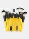 18 Pcs Makeup Brushes Set Eye Shadow Eyebrow Eyelashes Fan-Shaped Eye Makeup Brush - Yellow Rod Black Tube